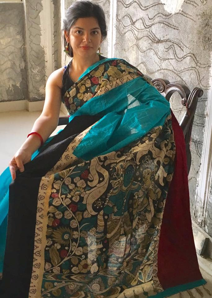 Blue Chanderi with hand painted kalamkari pallu and border