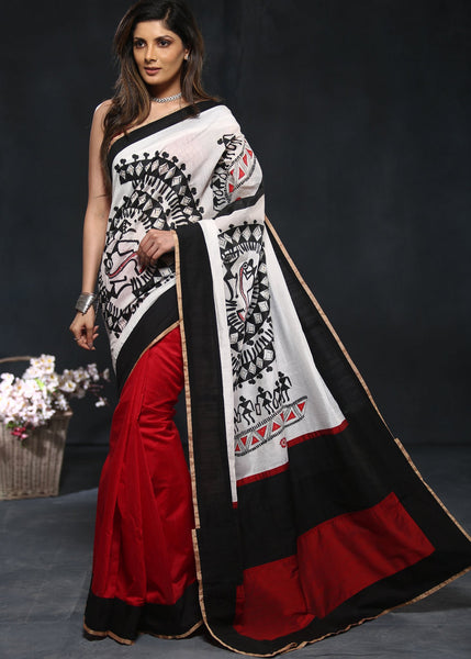 Hand painted warli art on red & white chanderi saree