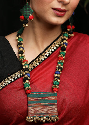 Green Khun fabric necklace with matching jhumkas