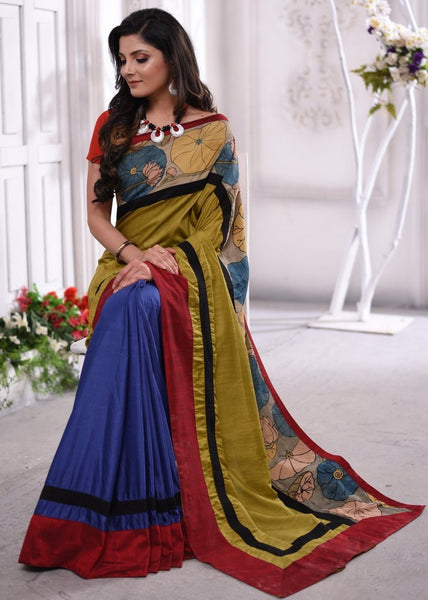 Exclusive semi silk saree with hand painted kalamkari border