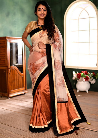Printed organza & brown cotton silk combination saree