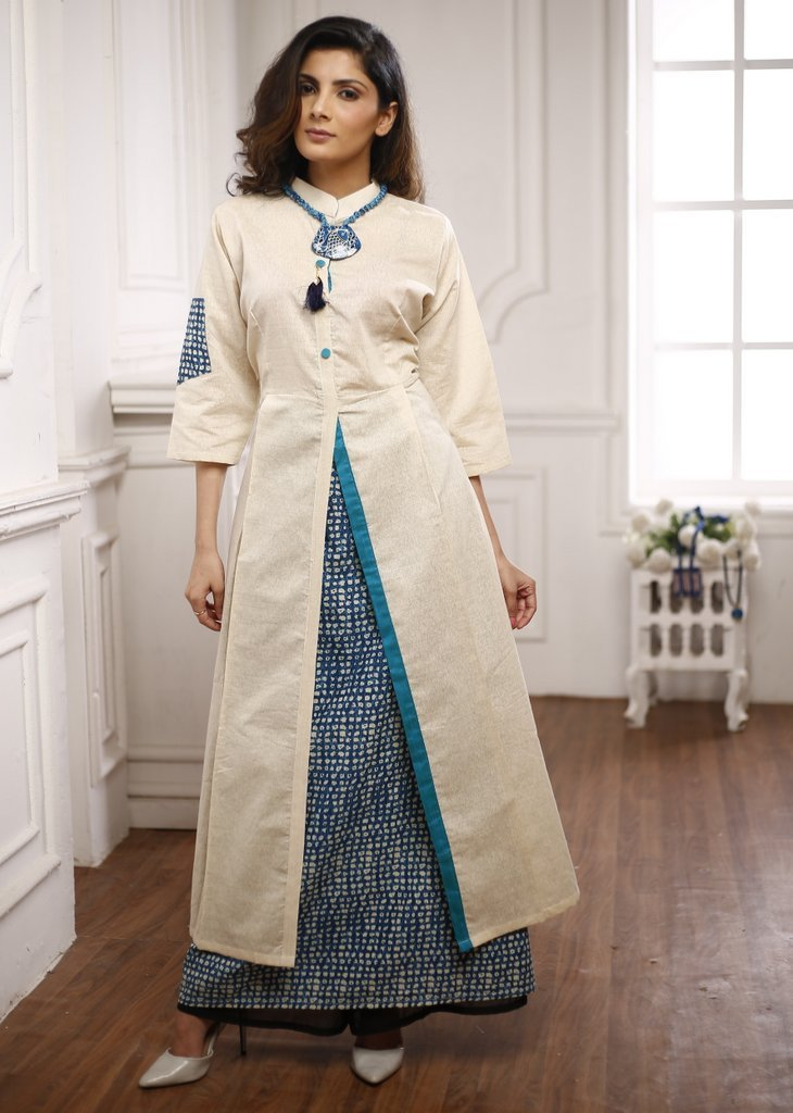 Beige handloom cotton kurta with printed sapphire blue cotton skirt inside