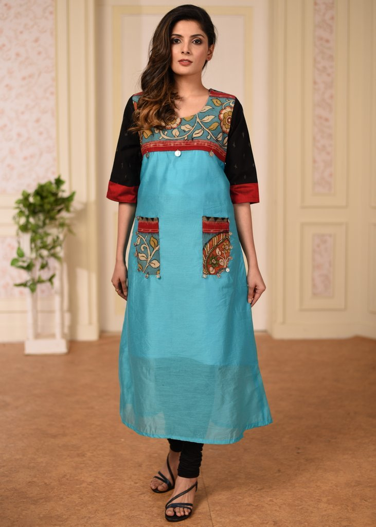Blue chanderi with hand painted kalamkari combination kurti