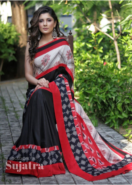 Black Semi Silk saree with Sambalpuri ikat border & Ikat pallu with block printed combination - Sujatra