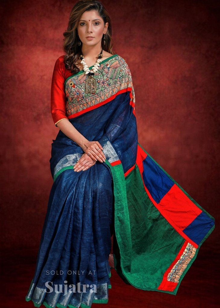 Navy blue pure linen saree with hand painted madhubani work