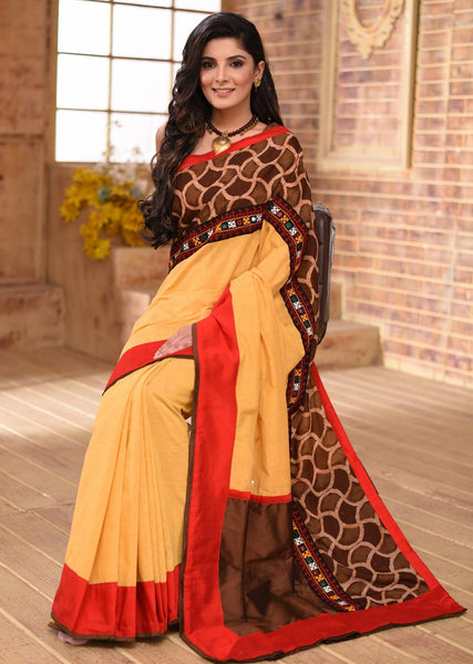 Yellow cotton chanderi saree with Ajrakh block printed border & kutch mirror work