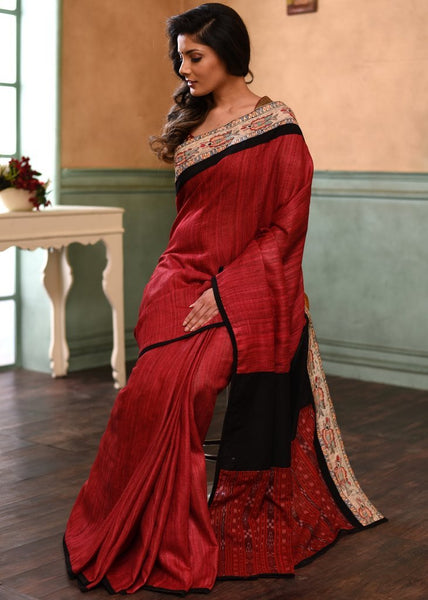 Pure Raw Silk Saree with hand painted madhubani border & sambalpuri patch on pallu - Sujatra