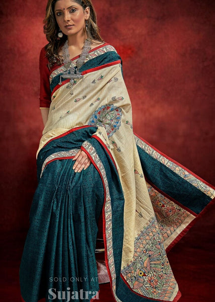 Designer hand painted madhubani handloom cotton saree