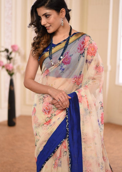Digital printed organza saree with khun zari border