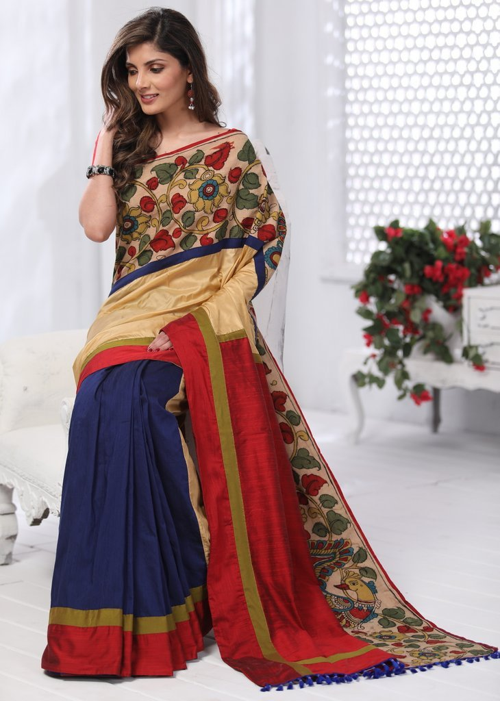 Beige Silk with hand painted kalamkari border with blue cotton silk pleats saree