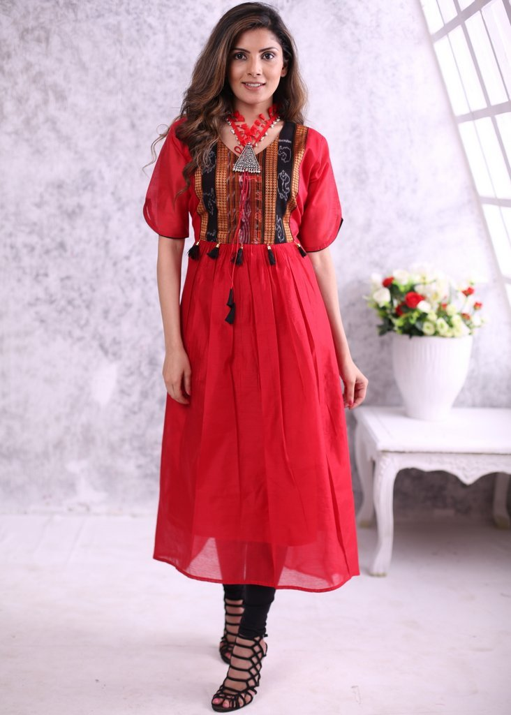 Red chanderi ankle length dress with sambalpuri ikat yoke and black & golden tassels