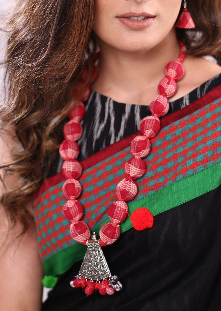 Handmade gamcha beads with oxidised pendant & earings - Sujatra