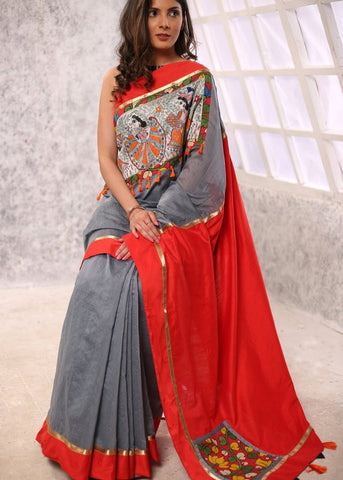 Grey chanderi saree with exclusive hand painted madhubani work with red cotton silk pallu