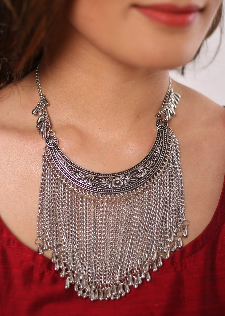 German Silver moon shape heavy neckpiece - Sujatra