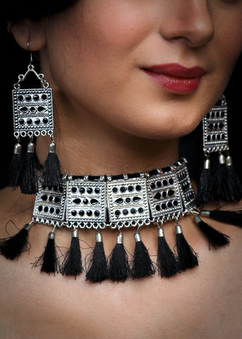 Silver Oxidised Afgani choker set with silk threads tassels & matching earrings