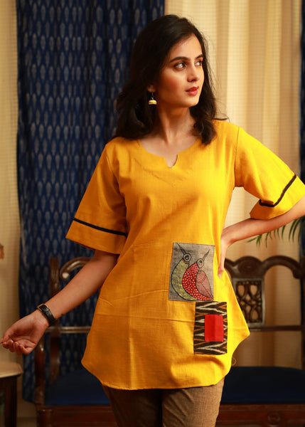 Gond tribal art hand-painted Multi-patchwork pure cotton top In beautiful mustard colour