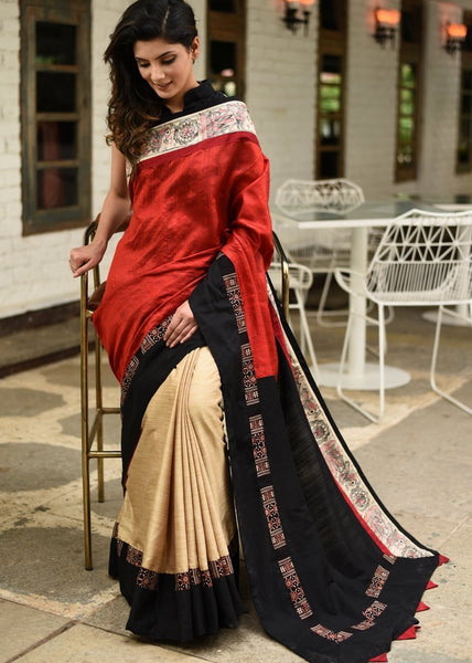 Red pure raw silk & beige semi silk pleats with hand painted madhubani & ajrakh border saree