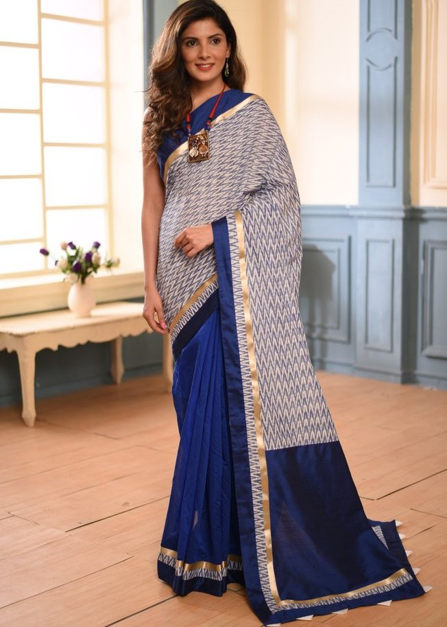 Ikat & blue chanderi combination exclusive saree - Sujatra
