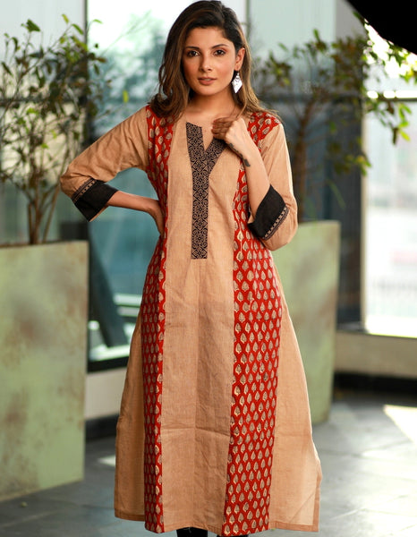 A- line  Handloom cotton Kurta with contrasting Ajrakh combination