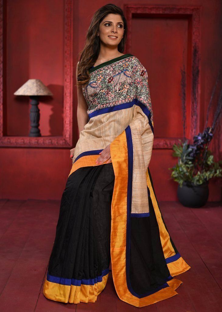 Exclusive ghicha silk and black chanderi pleats saree with intricate madhubani painting