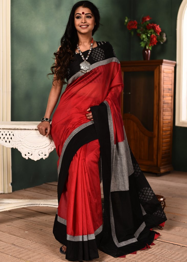 Red chanderi saree with exclusive ikat border & patch on pallu - Sujatra