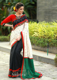 Excluive ikat combination saree with black cotton pleats and kutch mirror work