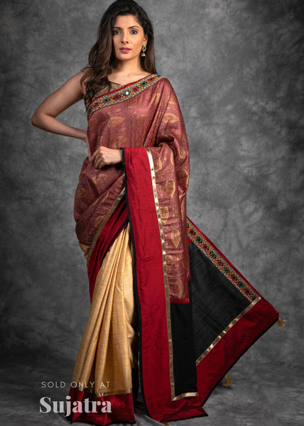 Exclusive benarasi saree with kutch mirror work & cotton silk pleats