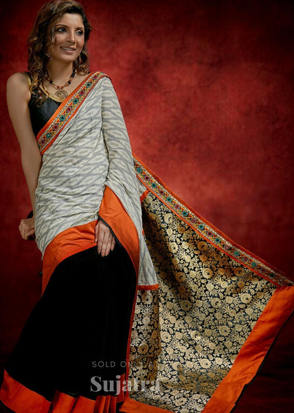 Ikat & benarasi combination saree with kutch mirror work border & black handloom cotton pleats