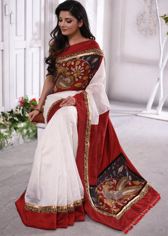 Exclusive white chanderi saree with hand painted kalamkari patches & ajrakh border