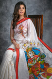 Abstract hand painted chanderi saree