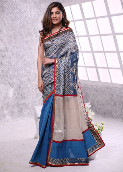 Printed pure silk saree with blue cotton pleats and tusar silk patch on pallu