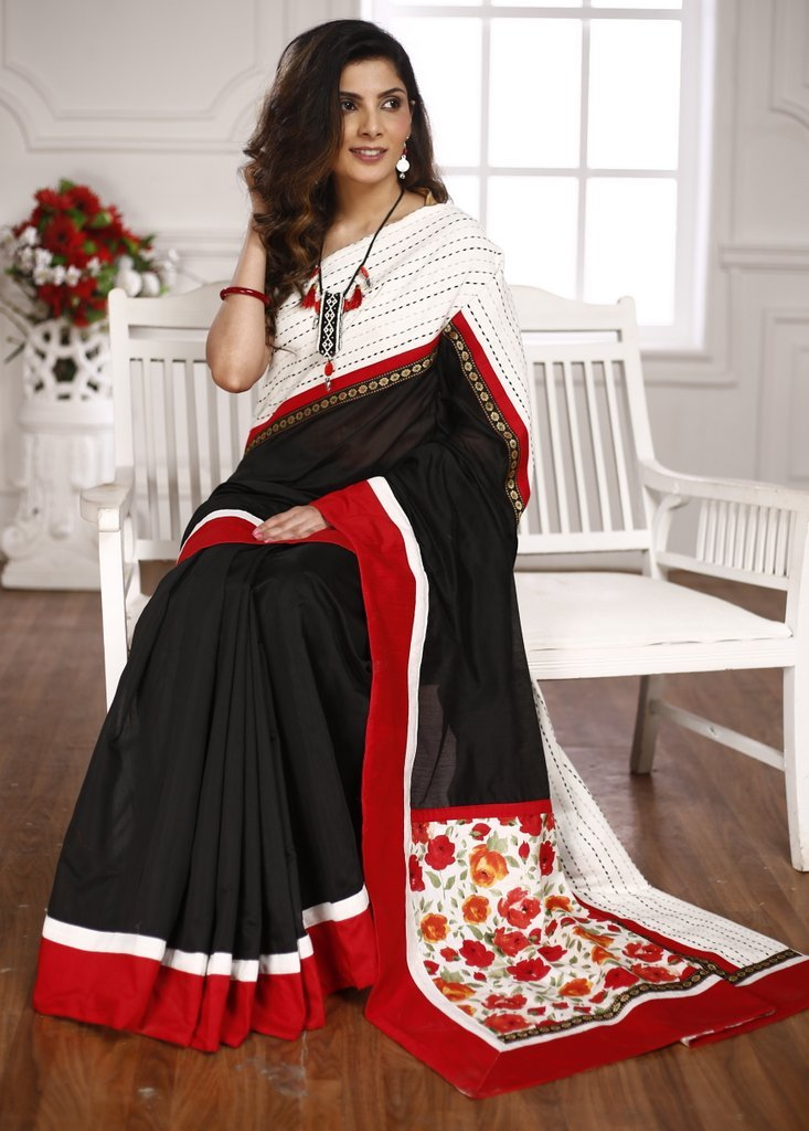 Black chanderi saree with striped woven border & floral patch on pallu