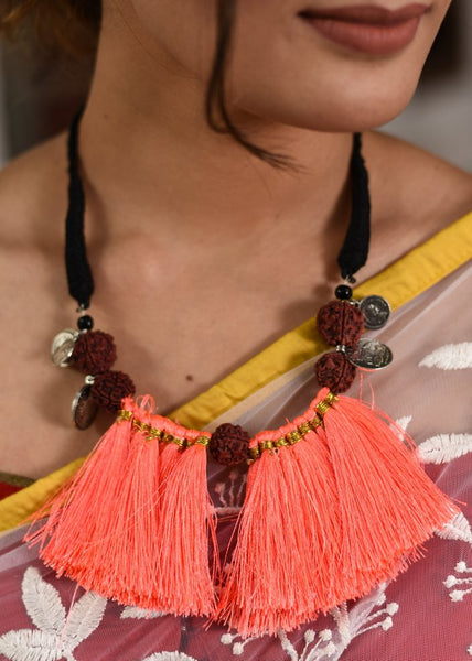 Rudraksh & tassels combination necklace