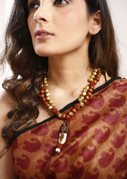 Eclectic wooden & golden beads necklace with traditional rudraksha with handmade wooden pendant