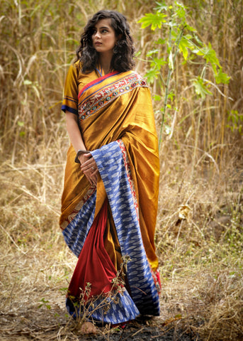 Exclusive golden khun saree with red semi silk pleats with kutch mirror work & ikat border
