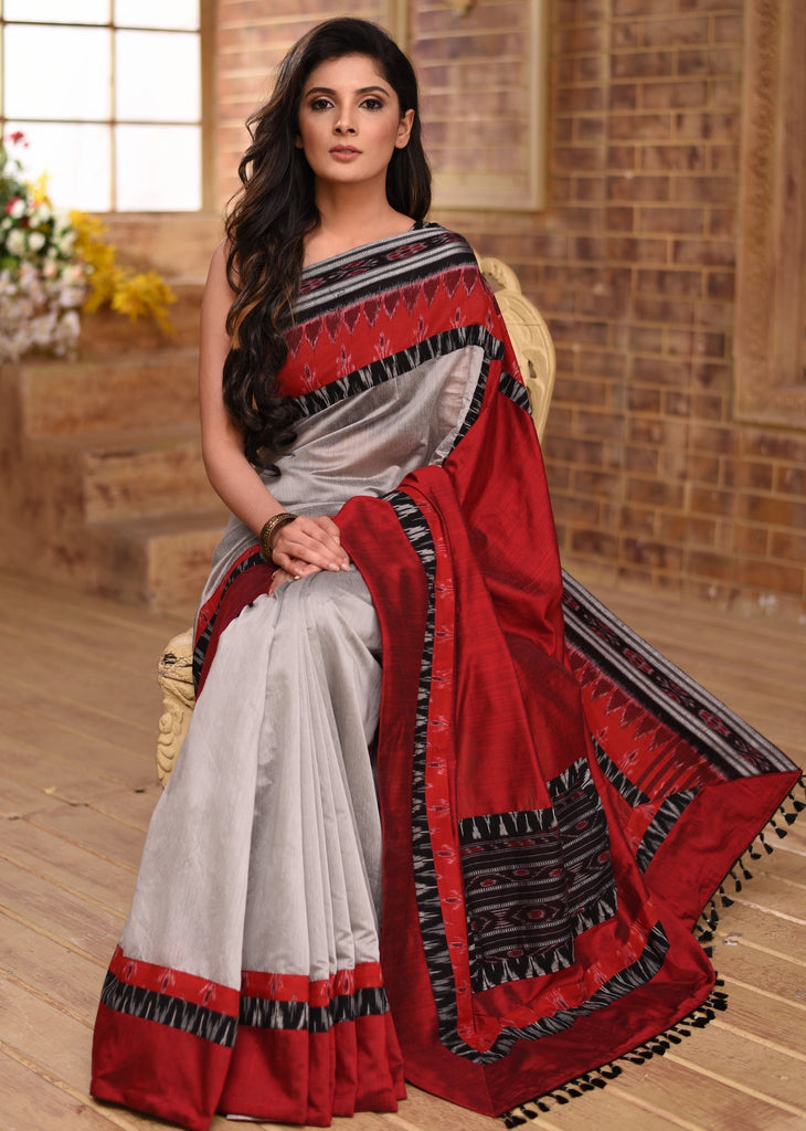 Grey chanderi saree with sambalpuri ikat border & patch on pallu