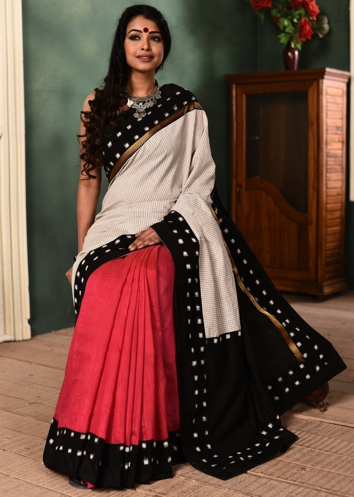 Exclusive chequered cotton with pink chanderi combination saree & ikat border - Sujatra
