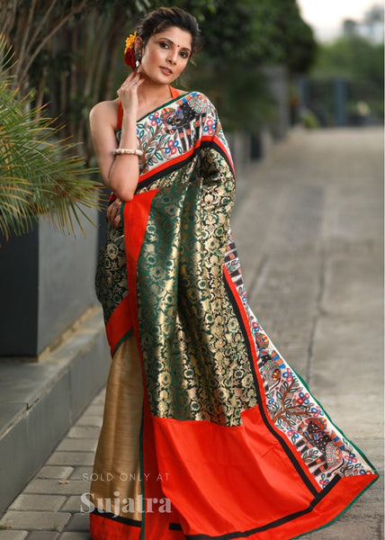 Exclusive benarasi & madhubani hand painting combination saree with golden semi silk pleats