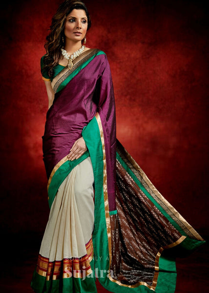 Exclusive designer Khun saree with zari border & Ikat pallu