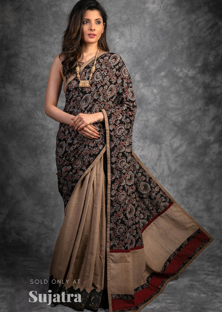 Exclusive handloom cotton Ajrakh block printed saree
