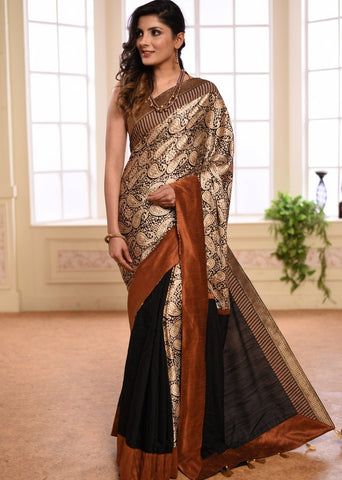 Exclusive Printed Satin saree with zari border & black muslin pleats
