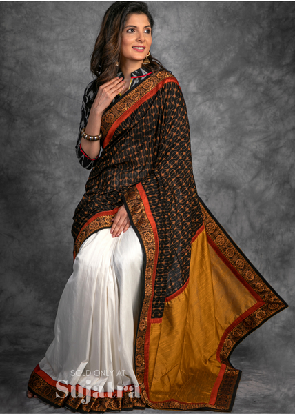 Exclusive sambalpuri ikat saree with cotton silk pleats & woven border