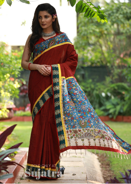 Maroon handloom cotton saree with hand painted kalamkari pallu & block printed border - Sujatra