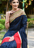 Exclusive striped chanderi saree with intricate zari border
