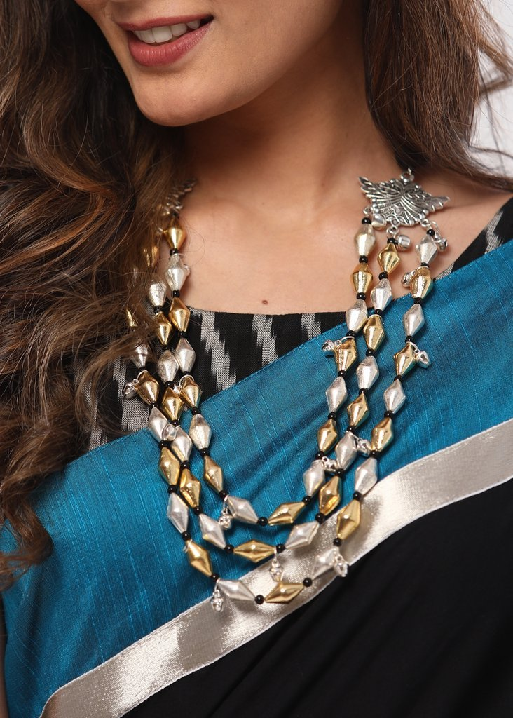 Triple layered golden and silver beads with butterfly  pendant neckpiece - Sujatra