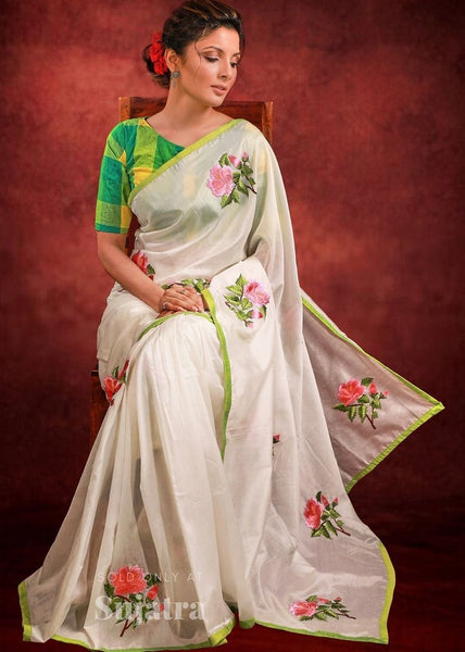 White chanderi saree with floral embroidered motifs