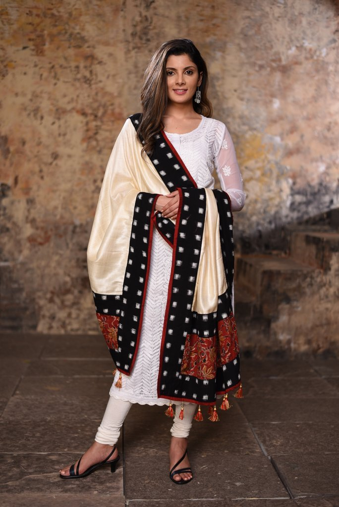 Exclusive pure silk dupatta with ikat border and kalamkari patch