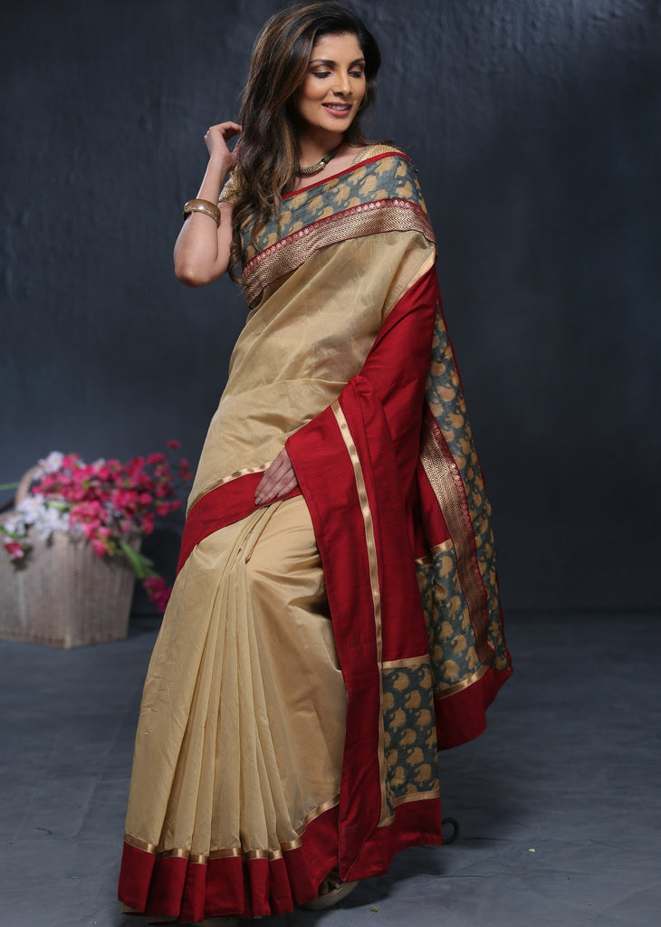 Beige chanderi saree with printed border & exclusive zari border