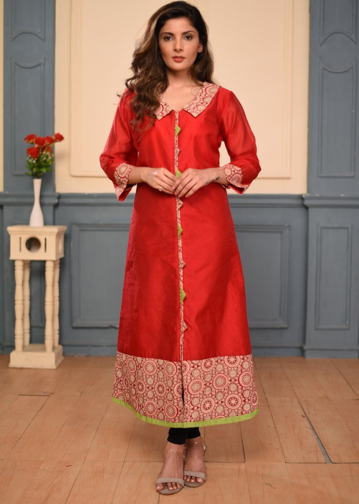 Red chanderi dress with printed cotton borders