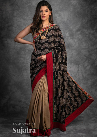Ajrakh handblock printed saree with kutch mirror work combination handloom cotton saree